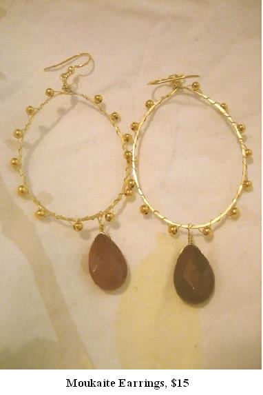 Moukaite Earrings, $15