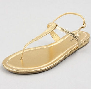 Classified Vanilla Gold Snake T Strap Thong Sandal, $14