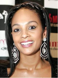 Alesha Dixon wearing large Crystal Chandelier Earrings, $194.25